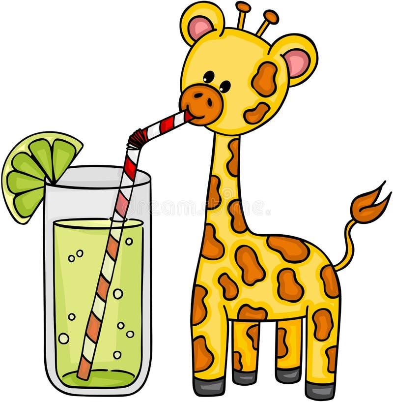 Leuke giraf het drinken verfrissing van limonade vector illustratie