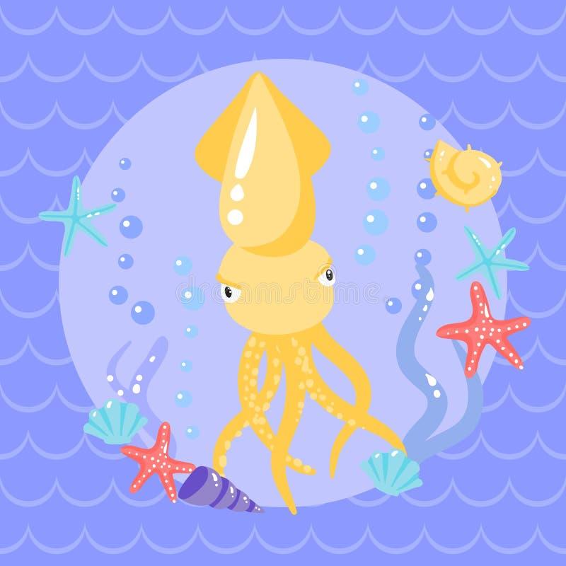 Leuke glasscherven met seasters en shells vector illustratie