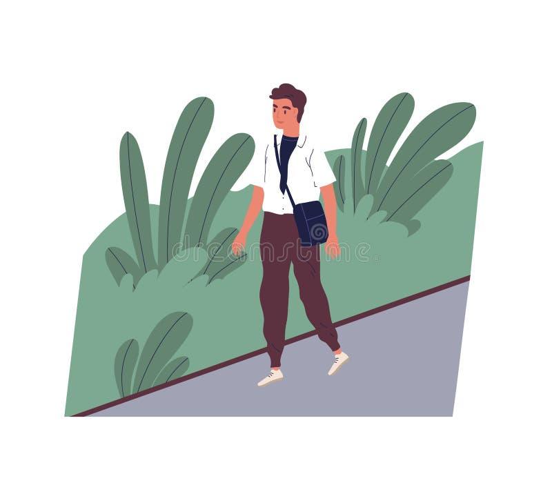 Leuke glimlachende jonge mens die gaan werken Gelukkig mannelijk karakter die op stadsstraat lopen Ochtendactiviteit van bediende vector illustratie