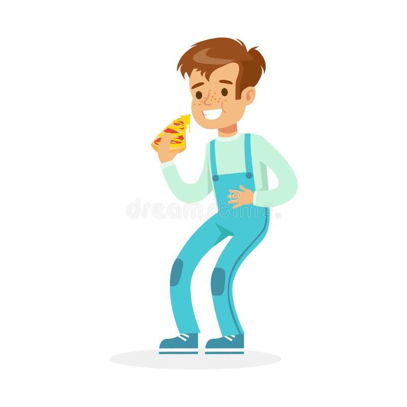 Leuke glimlachende jongen die pizza, kleurrijke karakter vectorillustratie eten royalty-vrije illustratie