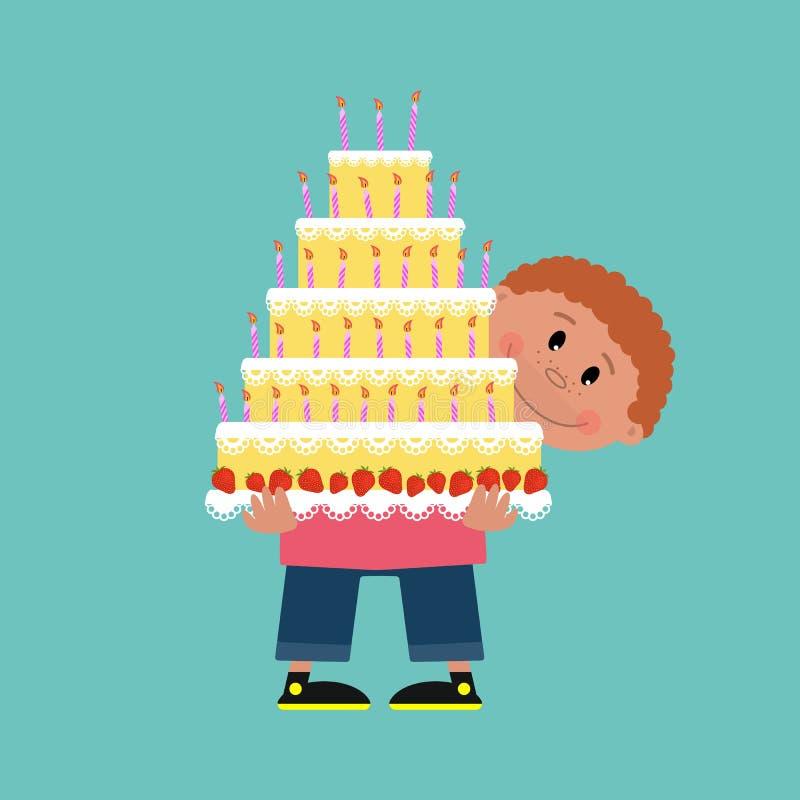 Leuke glimlachende jongensholding in zijn handen een grote cake met kaarsen stock illustratie