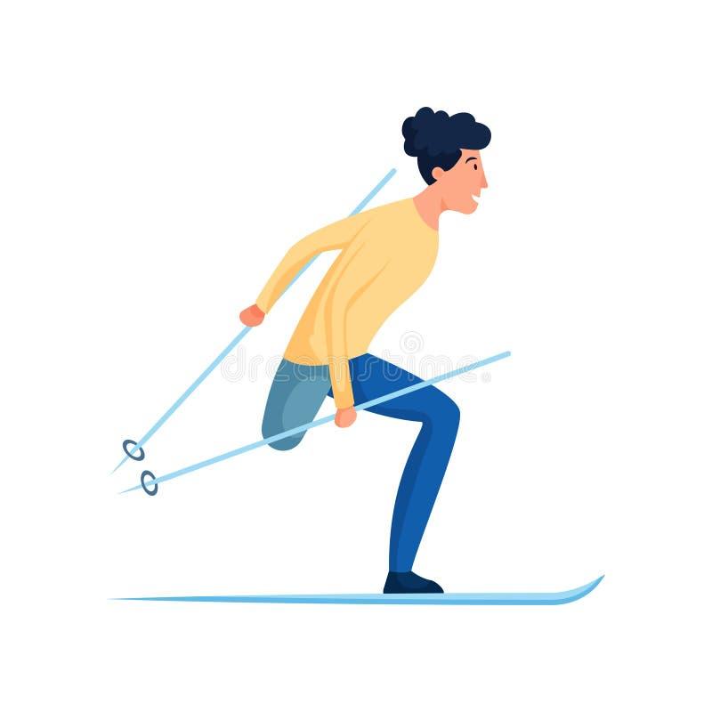 Leuke glimlachende mens met het geamputeerde de beenwinter ski?en royalty-vrije illustratie