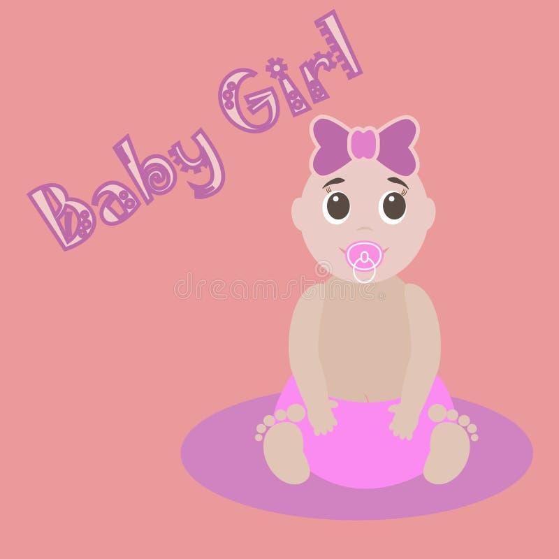 Leuke Grafisch voor het Meisje van de Baby Kaart van de baby girlnewborn de mooie groet De uitnodigingsmalplaatje van de babydouc vector illustratie