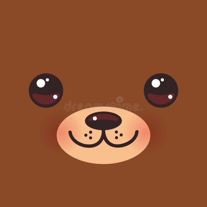 Leuke grappige bruin van Beeldverhaalkawaii draagt snuit met roze wangen en grote ogen Vector stock illustratie