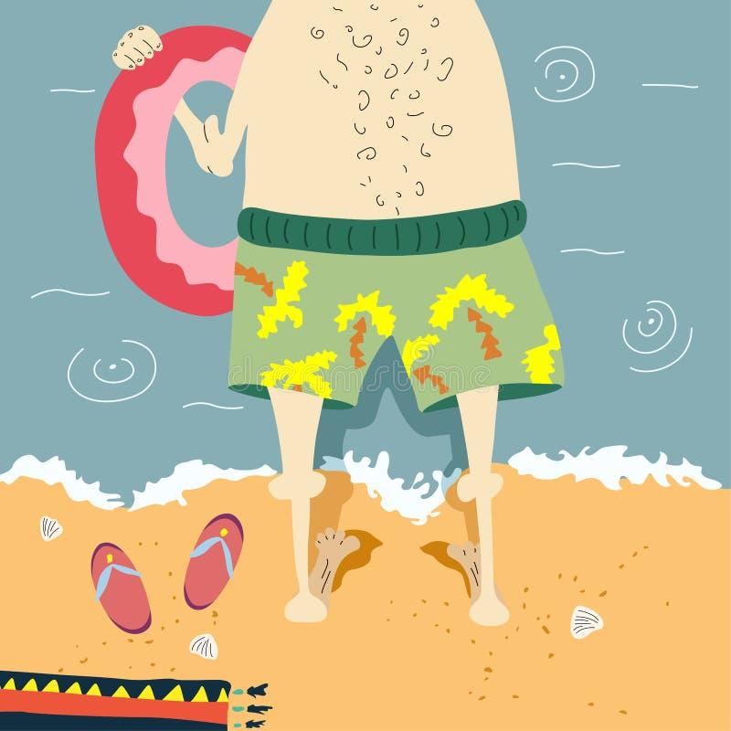 Leuke grappige de zomerillustratie Een mens op vakantie royalty-vrije illustratie