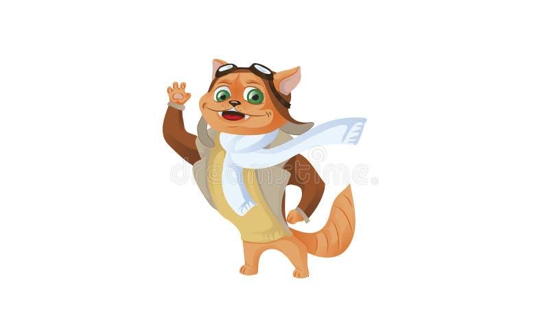 Leuke grappige dierlijke proefkarakters die op vliegtuig vliegen - kat en vector illustratie