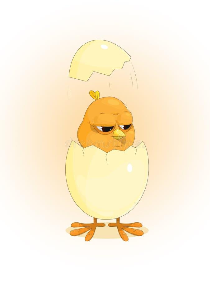 Leuke grappige gele die kip van een ei wordt uitgebroed vector illustratie