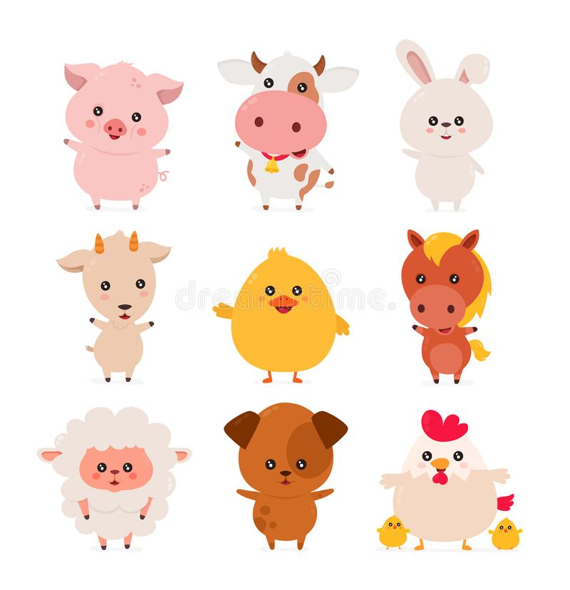 Leuke grappige het glimlachen gelukkige geplaatste landbouwbedrijfdieren royalty-vrije illustratie