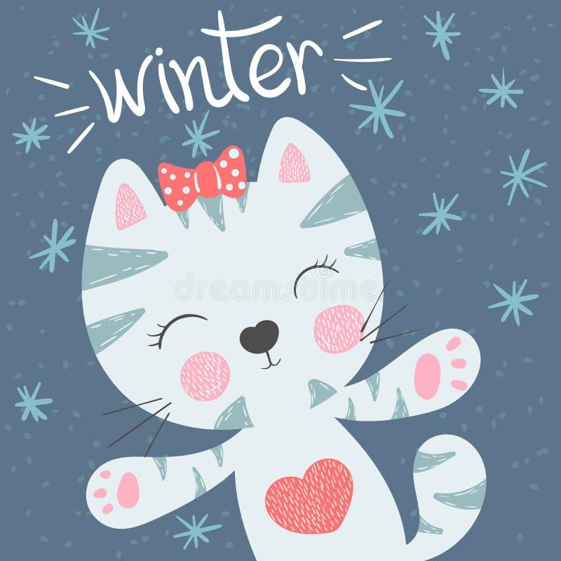 Leuke, grappige kat De illustratie van de winter Idee voor drukt-shirt Weinig Prinses royalty-vrije illustratie
