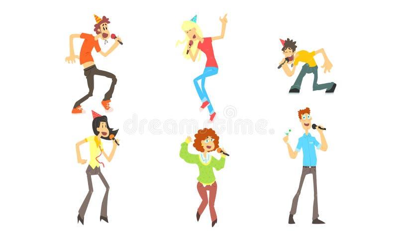 Leuke Grappige Mensen die emotioneel met Microfoon, Man en Vrouwen het Zingen Karaoke bij Partij Vectorillustratie zingen stock illustratie