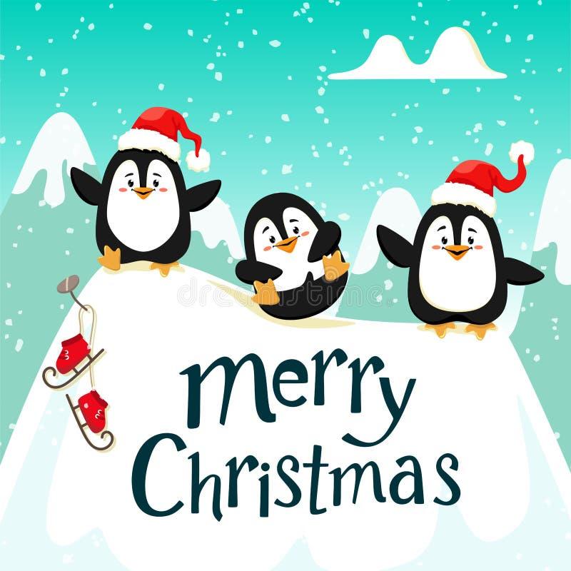 Leuke grappige pinguïnen in rode hoeden op het ijs Handschrifttekst, het van letters voorzien Kerstmis Vector illustratie stock illustratie