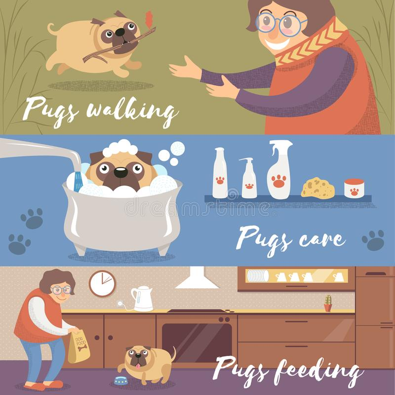 Leuke grappige pug hond in verschillende situaties, pugs, zorg en het voeden kleurrijke vectorillustraties die lopen vector illustratie