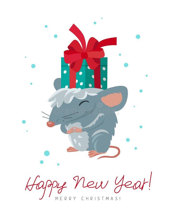 Leuke grappige rat met een giftdoos Het symbool van het Chinese Nieuwe Jaar van 2020 stock illustratie