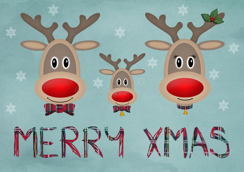 Leuke grappige rendierfamilie op blauwe uitstekende achtergrond met tekst vrolijke Kerstmis stock illustratie