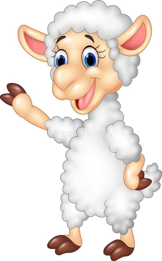 Leuke grappige schapen golvende hand op witte achtergrond vector illustratie