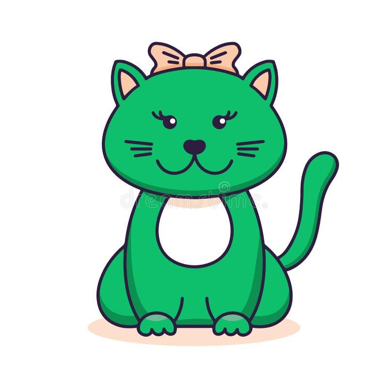 Leuke groene kat, beeldverhaal lineaire kunst, dierlijke schets Vectorillustratie van weinig meisje vlakke van het glimlachkatje  stock illustratie