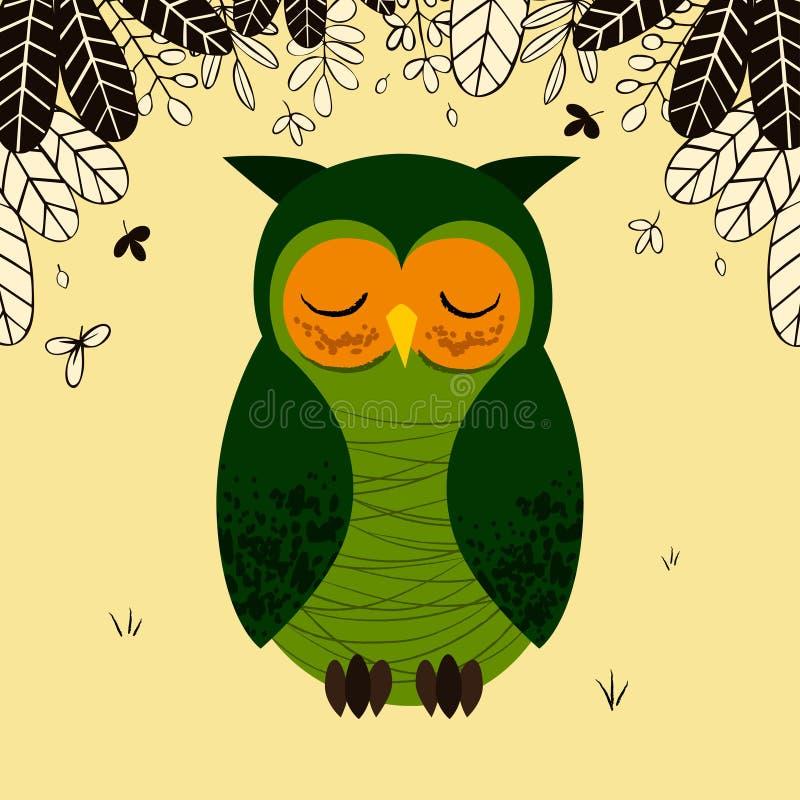 Leuke groene slaperige uil in bos vector illustratie