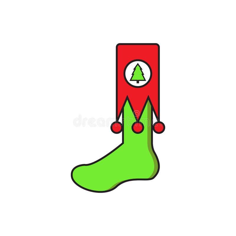 Leuke groene sokkerstmis royalty-vrije illustratie