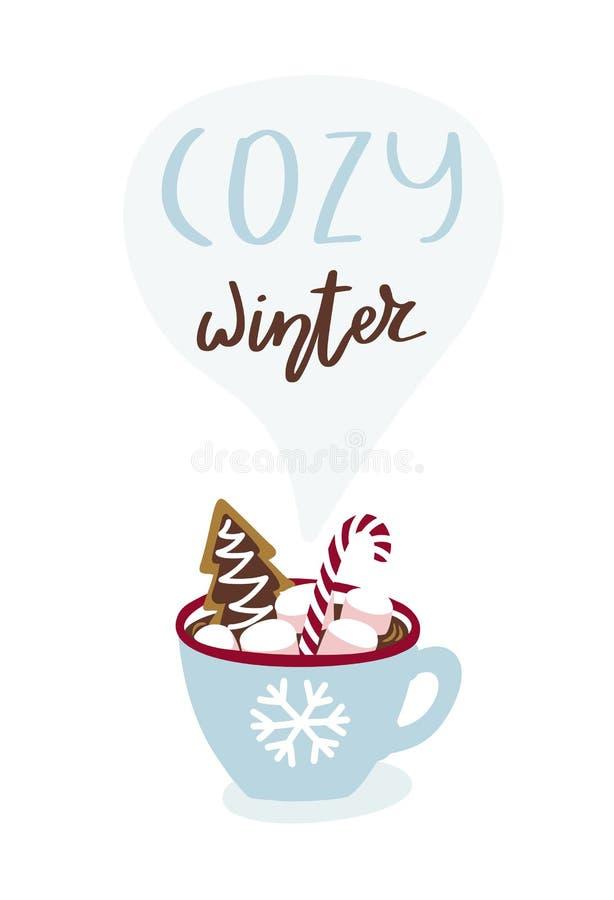 Leuke groetkaart met kop van de hete chocolade en het van letters voorzien Comfortabele winter royalty-vrije illustratie