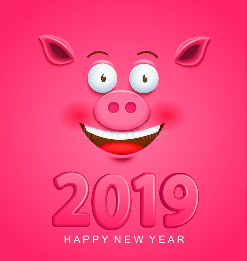 Leuke groetkaart voor het nieuwe jaar van 2019 met varkensgezicht stock illustratie