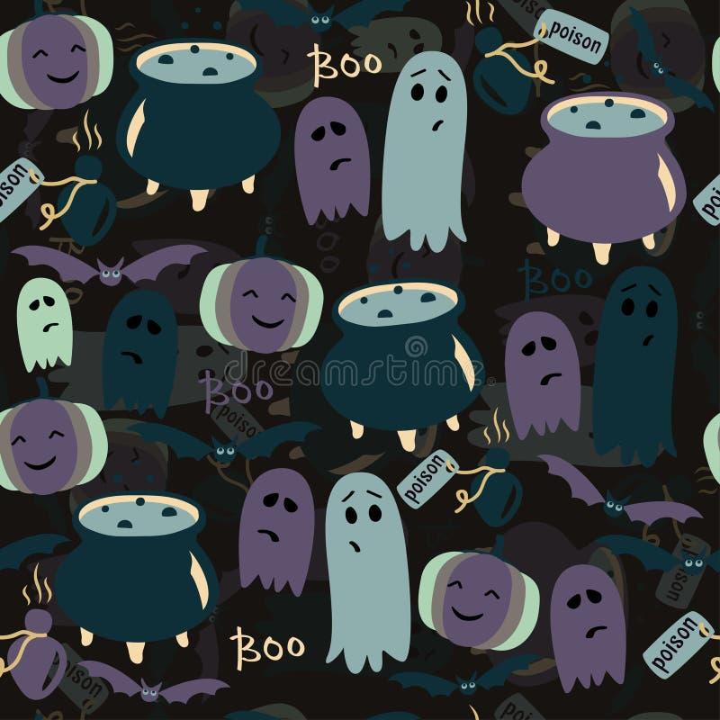 Leuke Halloween-achtergrond met spoken, pompoenen en vergift Vector naadloos patroon vector illustratie