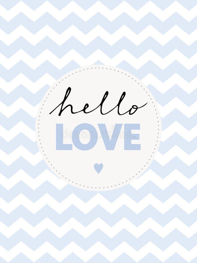 Leuke Hand Geschreven Hello-Liefde Vectorillustratie vector illustratie