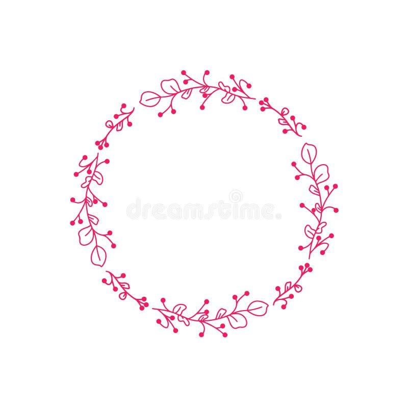 Leuke hand geschreven illustratie De vreugdekroon van de de lentestijl Handdrawn vector rond kader voor huwelijksuitnodigingen, p stock illustratie