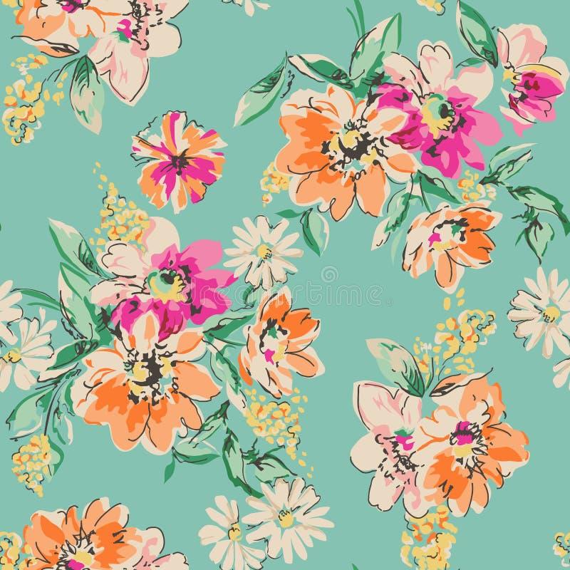 Leuke hand getrokken bloemdruk - naadloze achtergrond stock illustratie