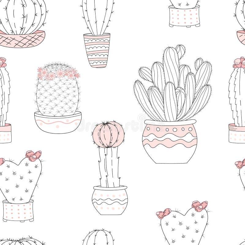Leuke hand getrokken cactus met brieven met achtergrond Vector naadloos patroon stock illustratie