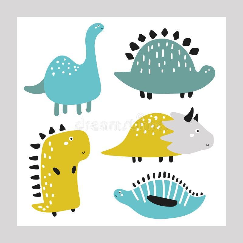 Leuke hand getrokken geplaatste krabbeldinosaurussen Grappige Juraperiode Dino, monsters, drakeninzameling vector illustratie