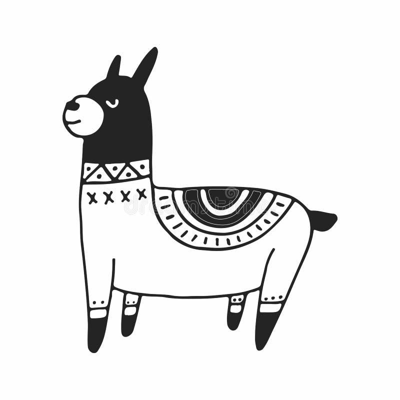 Leuke hand getrokken kinderdagverblijfaffiche met weinig lama in Skandinavische stijl Zwart-wit illustratie stock illustratie