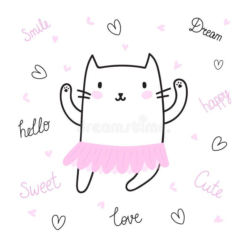Leuke hand getrokken prentbriefkaar met grappige kat omhoog gekleed in ballerinarok Kaart voor meisje Malplaatje voor uw ontwerp  vector illustratie