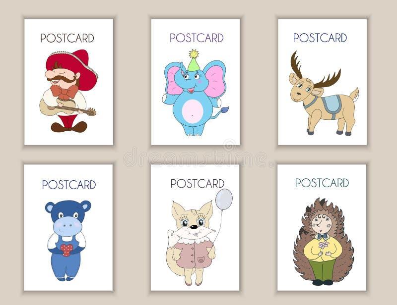 Leuke hand getrokken prentbriefkaarenverjaardag, partij, de kaarten van de babydouche, brochures, uitnodigingen met Mexicaan, oli vector illustratie