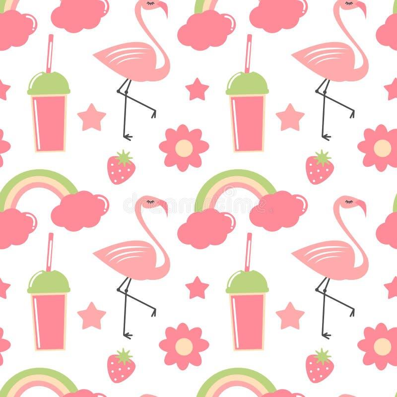 Leuke hand getrokken van het de zomer naadloze vectorpatroon illustratie als achtergrond met flamingo, regenboog, bloemen, sterre royalty-vrije illustratie