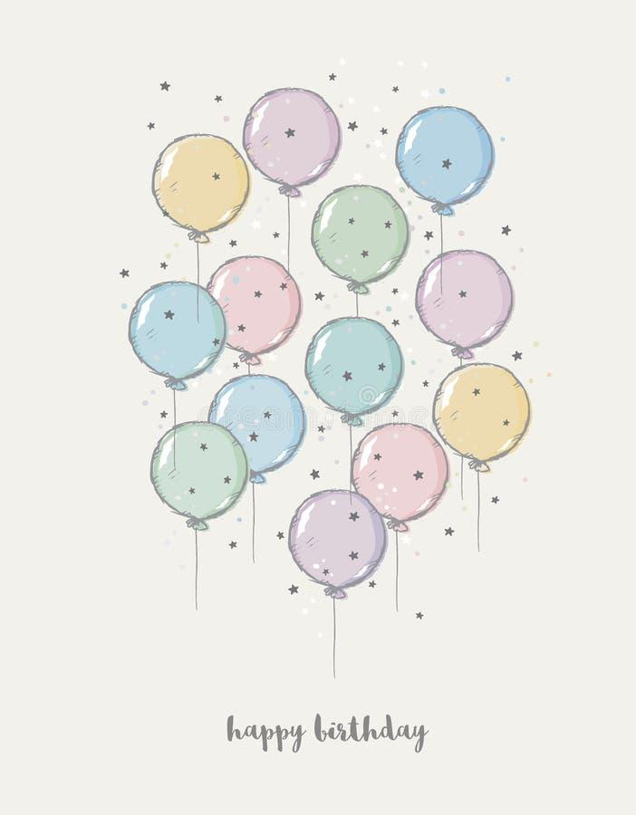 Leuke Hand Getrokken Verjaardags Vectorillustratie Pastelkleuren die Baloons vliegen Donker Grey Happy Birthday Text stock illustratie