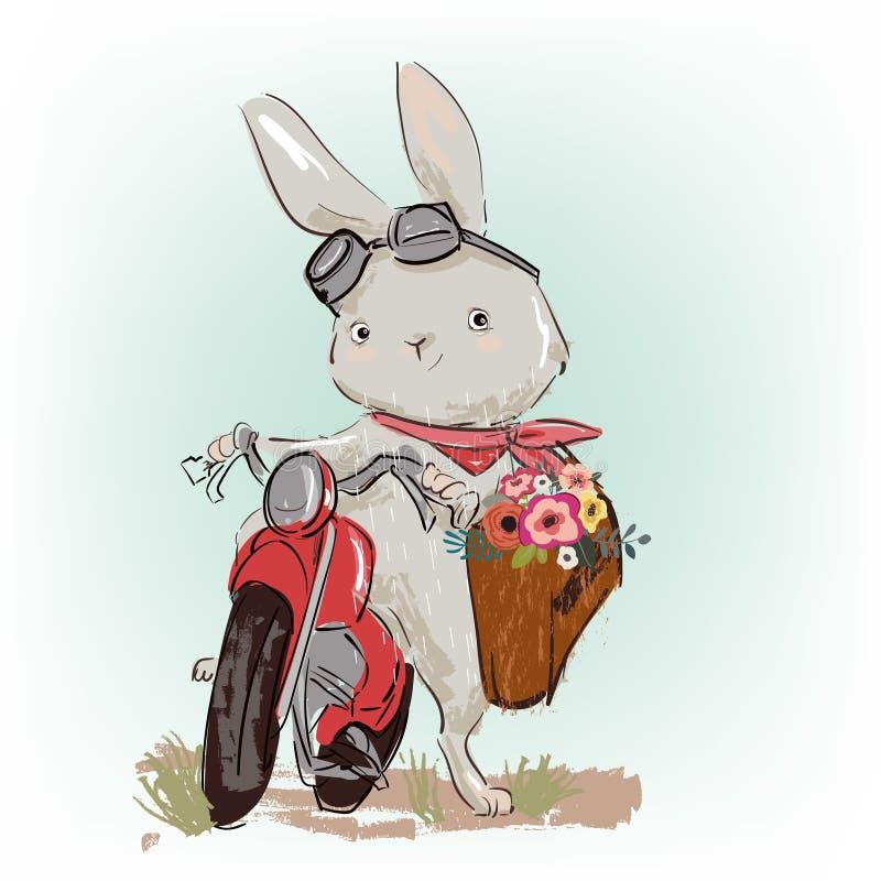 Leuke hazen op motobike met bloemengift vector illustratie
