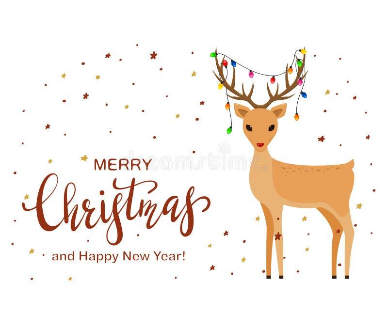 Leuke Herten en het Van letters voorzien Vrolijke Kerstmis royalty-vrije illustratie