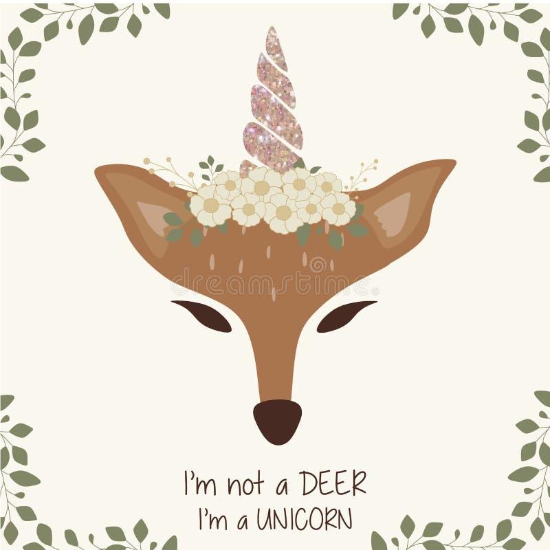 Leuke herten grafisch met eenhoornhoorn en bloemkroon royalty-vrije illustratie