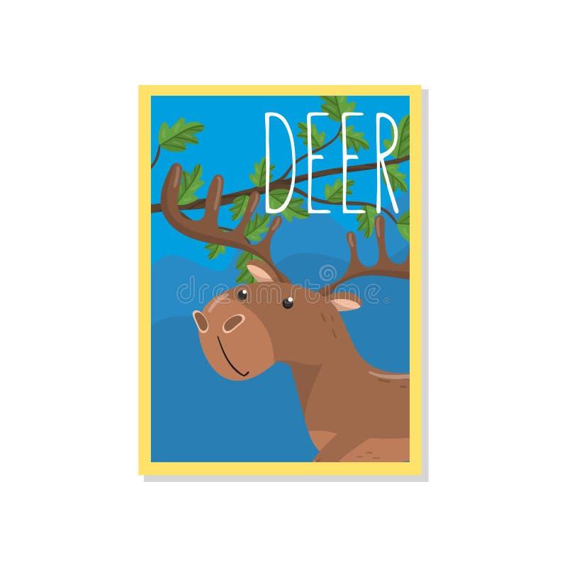 Leuke herten vectorillustratie met bosdier, ontwerpelement voor banner, vlieger, aanplakbiljet, groetkaart, beeldverhaal stock illustratie