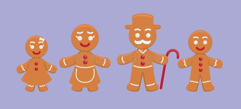 Leuke het Beeldverhaal Vectorillustratie van de Peperkoekfamilie stock illustratie