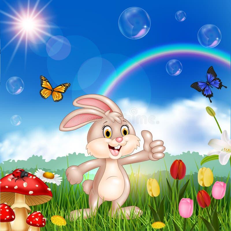 Leuke het beeldverhaal weinig konijn het geven beduimelt omhoog stock illustratie