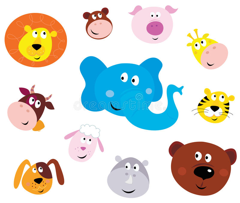 Leuke het glimlachen dierlijke hoofdpictogrammen (emoticons) royalty-vrije illustratie