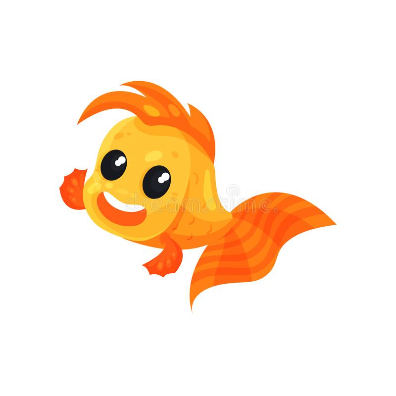 Leuke het glimlachen goudvis, grappige het karakter vectorillustratie van het vissenbeeldverhaal op een witte achtergrond vector illustratie