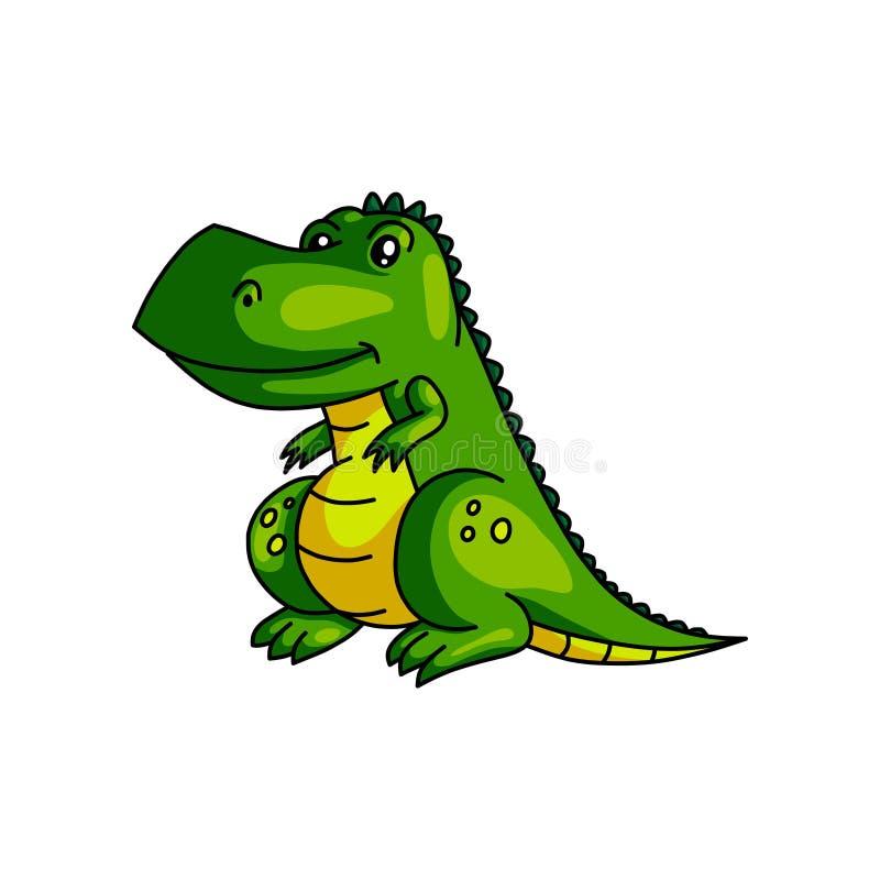 Leuke het glimlachen groene kleurrijke dinosaurus met gele kleur stock illustratie