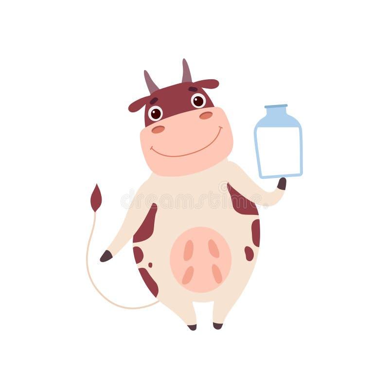 Leuke het Glimlachen Koe die zich op Twee Benen en Holdingskruik bevinden Melk, Grappige het Karakter Vectorillustratie van het L royalty-vrije illustratie