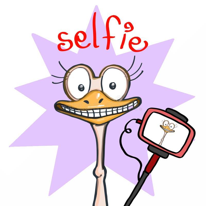 Leuke het glimlachen struisvogel en purpere achtergrond en selfie stock foto