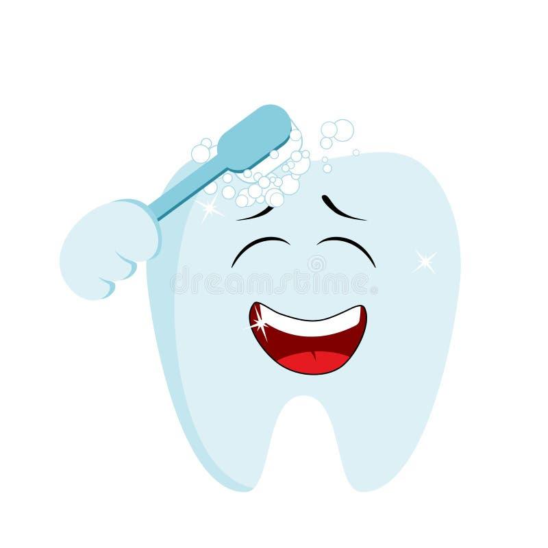 Leuke het glimlachen tand die schoonmaken met een tandenborstel Tandhygi?neconcept stock illustratie
