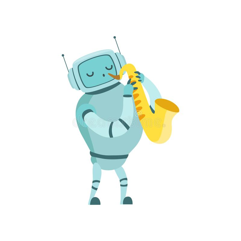Leuke het Instrumenten Vectorillustratie van Playing Saxophone Musical van de Robotmusicus vector illustratie