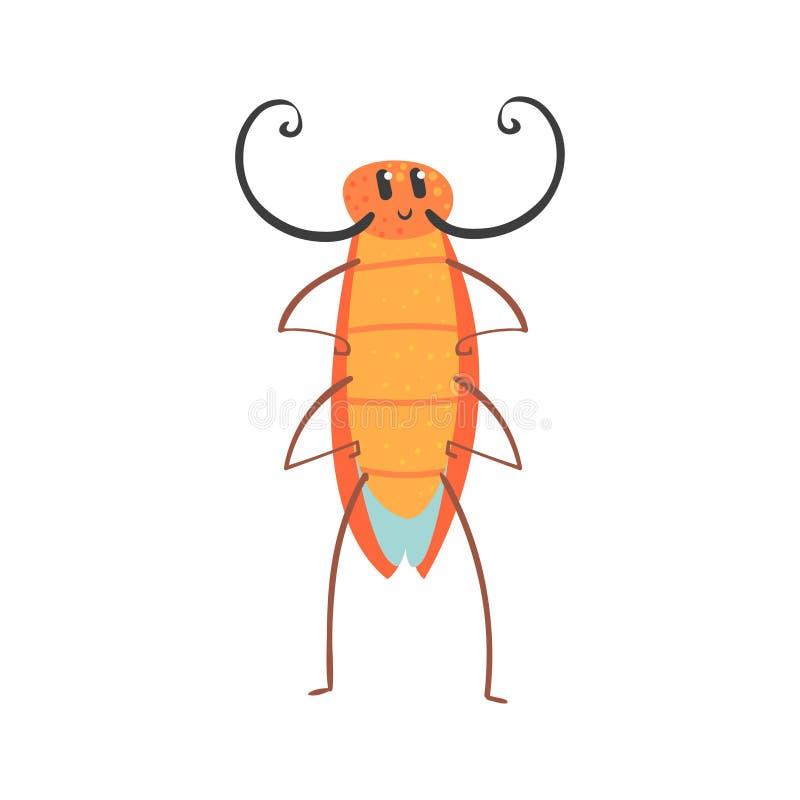 Leuke het karakter vectorillustratie van de beeldverhaal grappige kakkerlak royalty-vrije illustratie