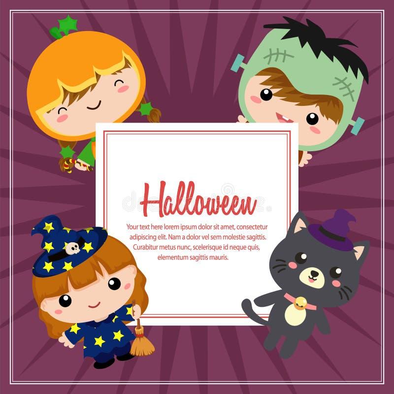 Leuke het kostuumjonge geitjes van Halloween frankenstein stock illustratie